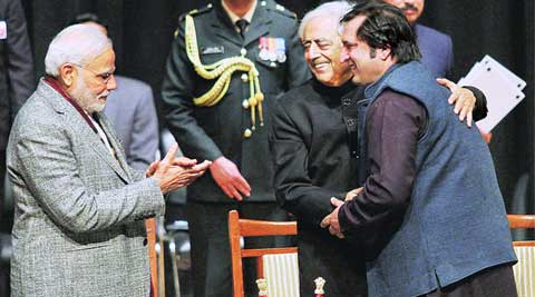 PM Modi with CM Mufti Sayeed and minister Sajjad Lone at the oath-taking ceremony. (Source: PTI )