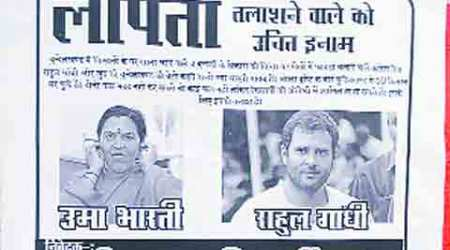 In new 'missing' poster, Rahul shares space with Uma Bharti