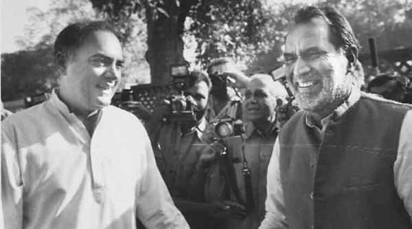 Rajiv Gandhi with Chandra Shekhar, whose govt he pulled down in 1991.(Express archive)