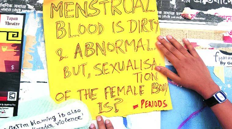 Sanitary pads stuck on the walls of JU campus carry  anti-sexism and anti-rape messages.(Source: Express photo by Partha Paul)