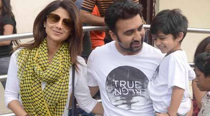 Shilpa Shetty, husband Raj Kundra's movie outing with son Viaan