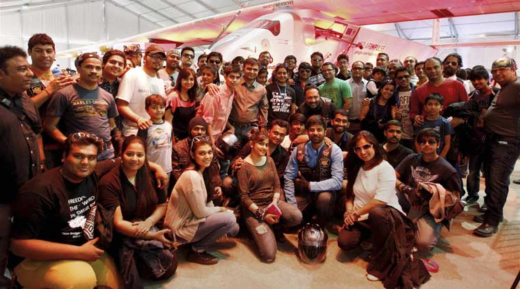College students pose in front of the solar powered Swiss aircraft Solar Impulse 2 in Ahmedabad on Thursday. (Source: PTI)