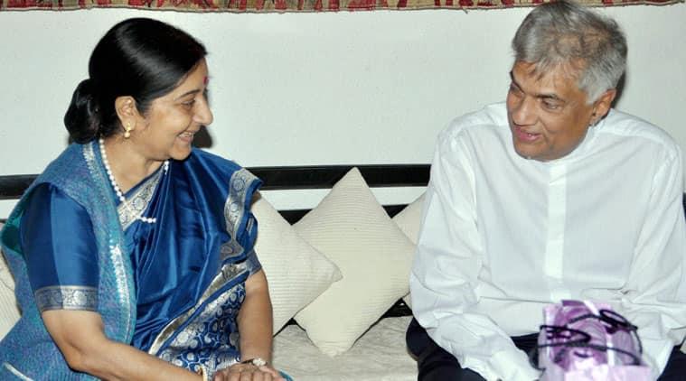 External Affairs Minister Sushma Swaraj meeting Sri Lanka's PM Ranil Wickremesinghe in Colombo on Saturday. (Source: PTI)
