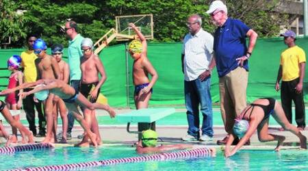 At 75, he urges youngsters to swim past 'physical'barriers