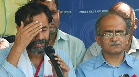 AAP leaders Yogendra Yadav and Prashant Bhushan during a press conference in New Delhi on Saturday.