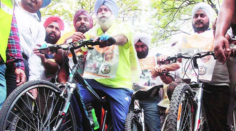 Sikhs demand justice for victims of the '84 Sikh riots during a cycle rally on Saturday. (Source:Prem Nath Pandey)