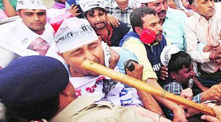 AAP supporters protest, stopped from marching towards Haryana CM house