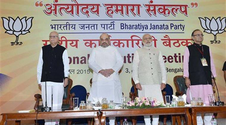 L K advani, advani, BJP national executive meet