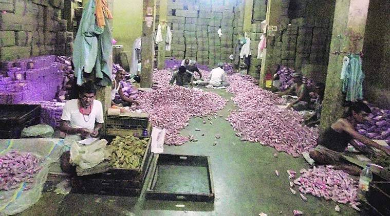 Workers inside a beedi factory in Sagar, Madhya Pradesh. (express photo by: Milind Ghatwai)