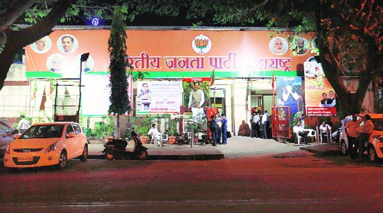 The BJP office at Nariman Point. (Source: Express photo by Vasant Prabhu)
