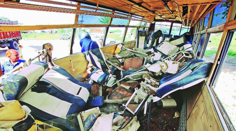 Mangled remains of the bus of Devi Dayal Institute of Engineering and Technology after  the accident on  Saha-Shahzadpur on Tuesday.Sumit Malhotra