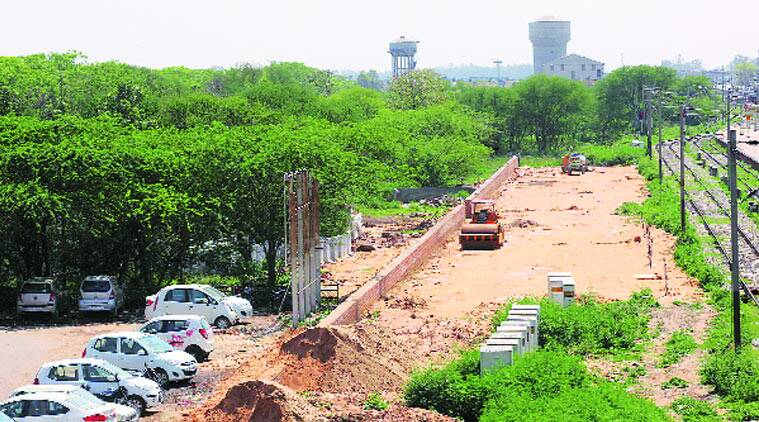 Construction of a new platform on Panchkula side of the Chandigarh Railway Station on Thursday. Jaipal Singh.