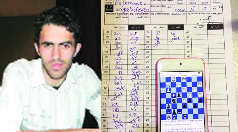 Georgian GM Nigalidze (inset) was caught cheating using a chess application on a smartphone which he had hidden in a toilet.