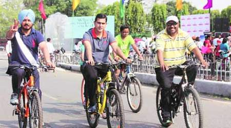 cycle rally, cycle promote rally, PM promote, PM promote cycle rally, Life cycle rally, ACA, GLADA, ludhiana news, citry news, local news, ludhiana newsline