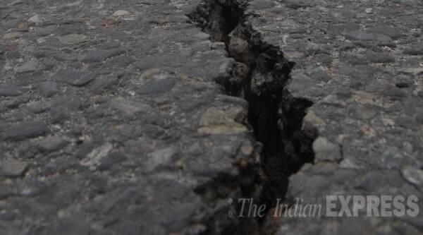Cracks appeared on Highway from Birgunj to Nepal after saturday's serial tremors. (Express Photo By Prashant Ravi)