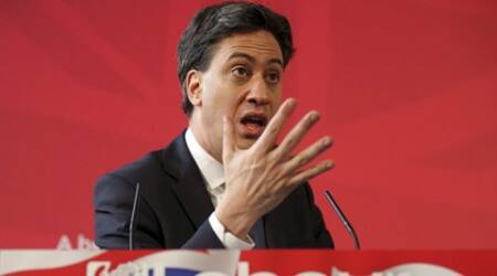 Britain's Labour Party Leader Ed Miliband speaks to an invited audience made up of Labour supporters and undecided voters, during an election trail, at Bury Town Hall, in Bury, Thursday April 2, 2015.