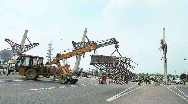 The last parts of the toll plaza being dismantled on Tuesday.Rakesh Kumar