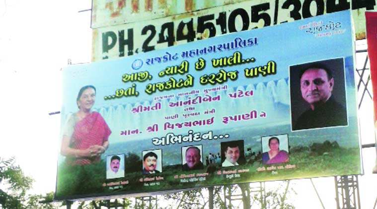 Rajkot hoarding, Narmada water, RMC, Anandiben Patel, Vijay Rupani, BJP, MLD, poll drive, drive for poll, Congress, ahmedabad news, nation news, india news, national news