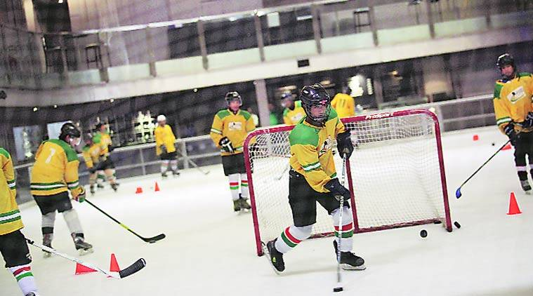 A typical ice skating arena measures 60 metres by 30 metres but the team is training on a 30x15 rink at a mall in Gurgaon. (Source: Express Photo by Tashi Tobgyal)