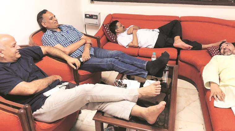 Delhi Chief Minister Arvind Kejriwal on dharna at the LG's office.