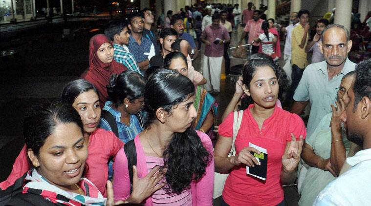 Kochi: Kerala nurses evacuated from Yemen upon arrival at the international airport in Kochi on Saturday morning. (Source: PTI)