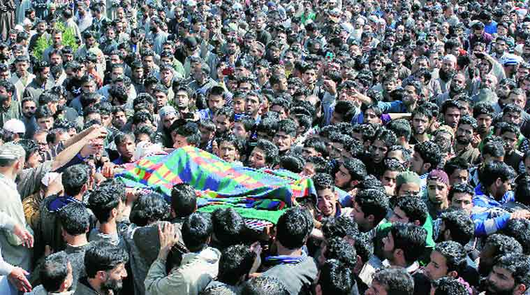 Thousands of men and women attended Khalid Muzaffar Wani's funeral in Tral Tuesday.(Express Photo by: Shahid Tantray)