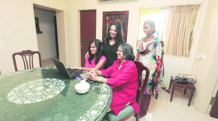 Geeta Lulla and family at their home in Cuffe Parade. (Source: Express Photo by Dilip Kagda)