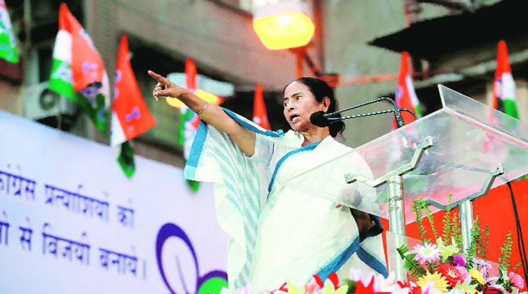 Chief Minister Mamata Banerjee during an election rally at Burrabazar on Friday in Kolkata. (Source: Express photo by Subham Dutta)