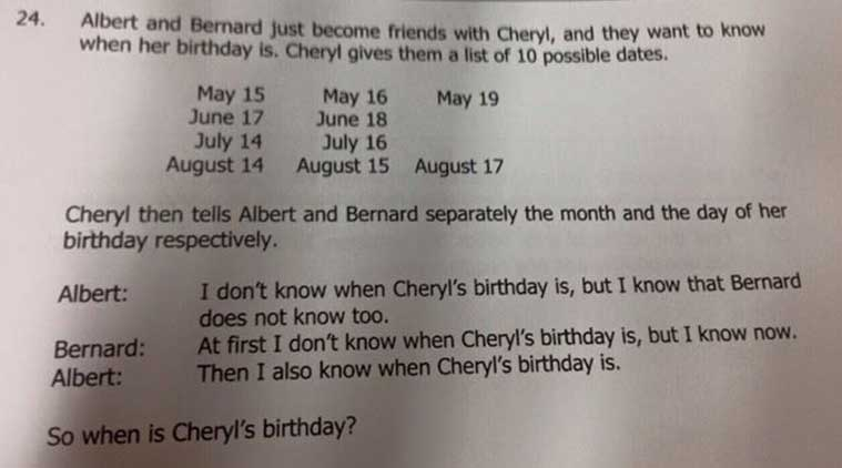 When is Cheryls birthday? How a Singapore maths problem went.