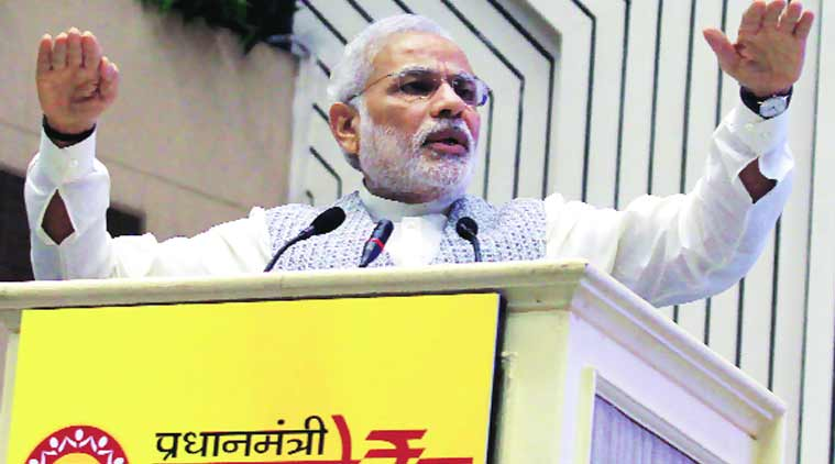 Modi at the launch of the Pradhan Mantri MUDRA Yojana in New Delhi Wednesday. (Express Photo by: Prem Nath Pandey)
