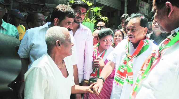 Narayan Rane interacts with voters. (Source: Express photo)