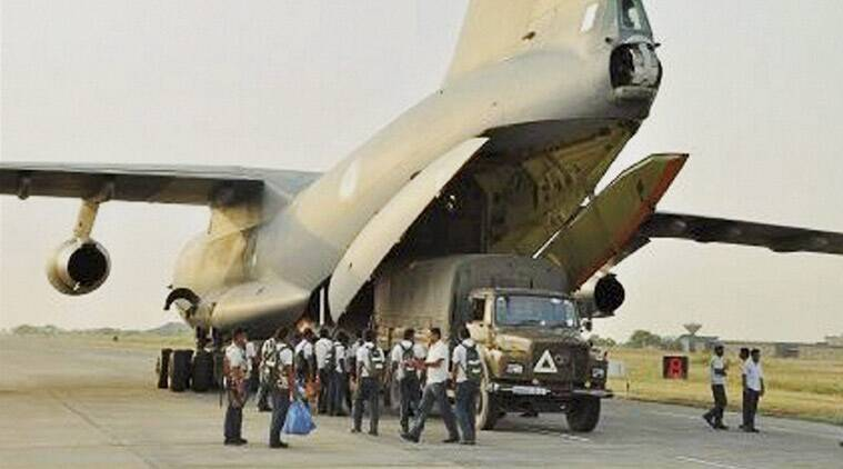 IAF's aircraft getting loaded before its take off from Bhatinda, Punjab on Sunday for Kathmandu, Nepal. (Source: PTI Photo)