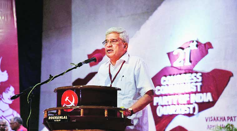 Outgoing general secretary Prakash Karat addresses the CPM party congress in Visakhapatnam. (Source: PTI photo)