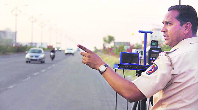 Pune division of the highway police recently conducted a drive on the Khandala-Borgaon stretch of the expressway to check speeding. (Source: Express Photo)