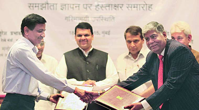 At the signing of MoU for Roha-Dighi Port rail connectivity project, in Mumbai Saturday. (Source: Express Photo)