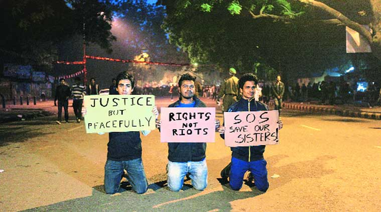 Young men at a protest in Delhi in December 2012  (Source: Express photo by Tashi Todgyal)