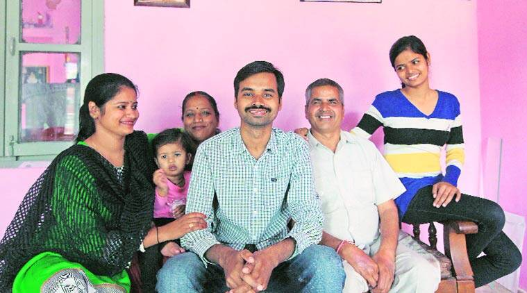 Ram Narayan Shukla with his family at their house in Chandigarh Saturday. (SourceL: Express photo by Kamleshwar Singh)