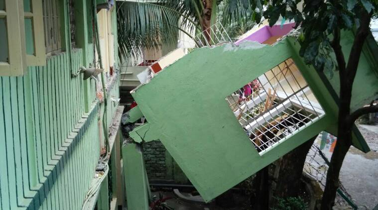 At Pradhan Nagar I witnessed the first floor balcony of a building was hanging precariously.