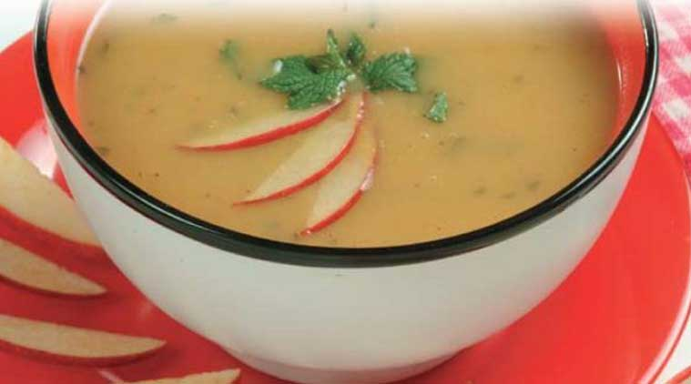 Chilled Curried Apple & Mint Soup recipe (Source: Nita Mehta)