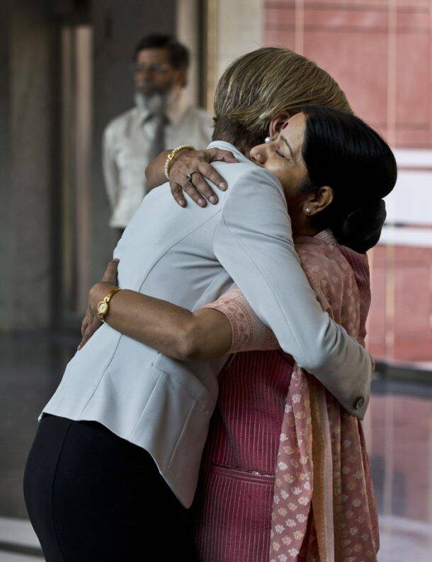 Embrace of diplomacy: Sushma Swaraj meets her Australian counterpart