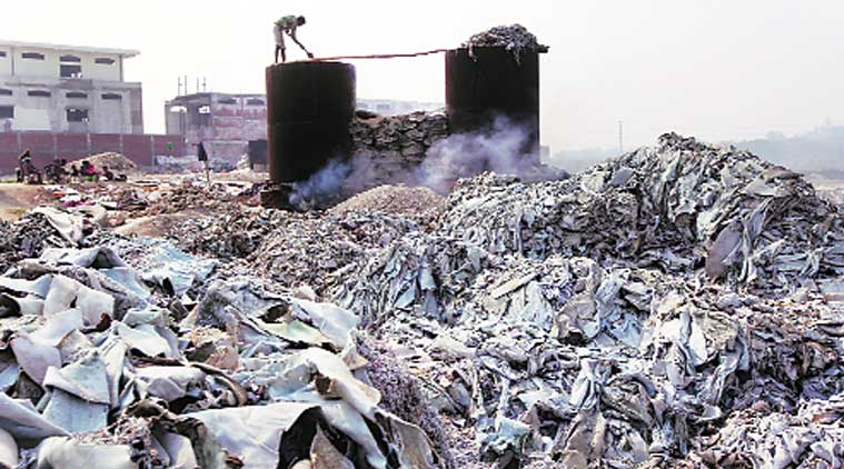 """Waste from tanneries on the bank of the Ganga in Kanpur. """"We have put special focus on Kanpur and its leather tanneries,"""" says Javed Abidi, chairman of Uttar Pradesh PCB."""