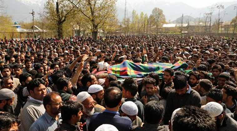Kashmiri Muslim villagers carry the body of Khaled Muzaffar, a civilian during his funeral procession in Tral, some 38 Kilometers (24 miles) south of Srinagar, Indian controlled Kashmir, Tuesday, April 14, 2015. Violent protests erupted in the Indian-controlled portion of Kashmir on Tuesday after a civilian and a militant were killed in an encounter with the army, officials in the troubled Himalayan region said. Relatives and angry locals say the civilian was actually tortured to death. (Source: AP)