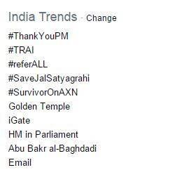A screenshot of the Twitter's India trends