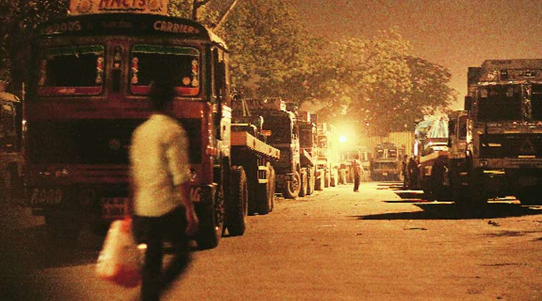 Container trucks in Tughlakabad, New Delhi.(Express Photo by: Praveen Khanna)
