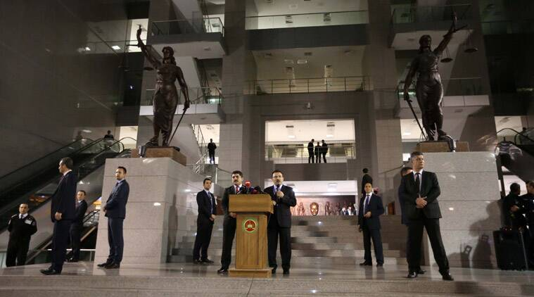 stanbul Security Chief Selami Altinok, center-right, and Deputy Chief Prosecutor Orhan Kapici speak to the media outside the main courthouse in Istanbul, Turkey, Tuesday, March 31.