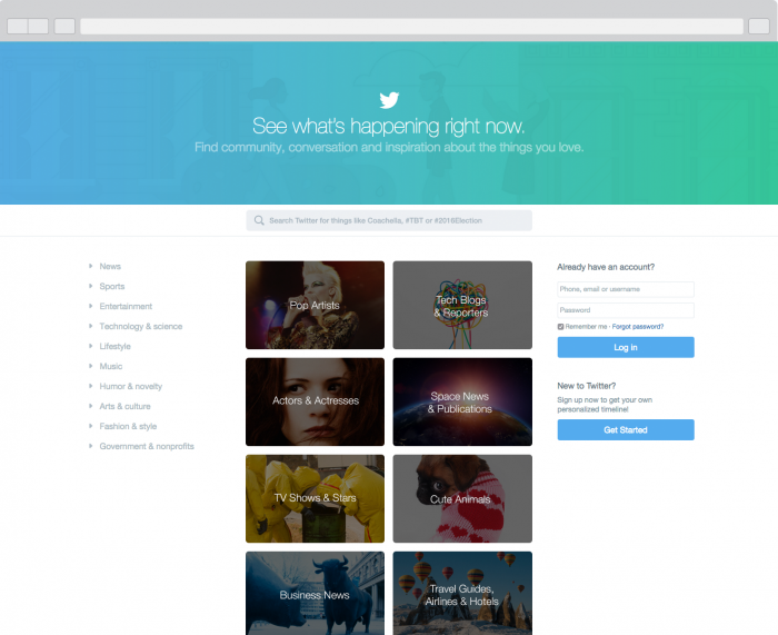 Twitter, Twitter homepage, new twitter page
