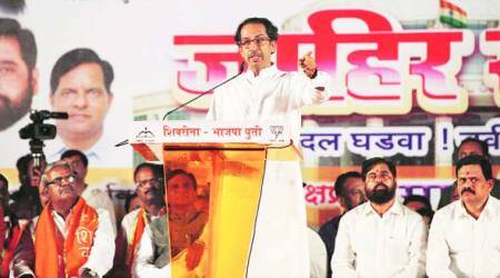 Uddhav speaks at a joint Sena-BJP campaign rally in Navi Mumbai. 	(Source: Express Photo by Narendra Vaskar)
