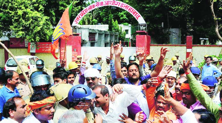 UPPSC aspirants say BJP leaders failed to fulfil promises they made ahead of last year's Lok Sabha polls and are now protesting with an eye on 2017 Assembly polls.