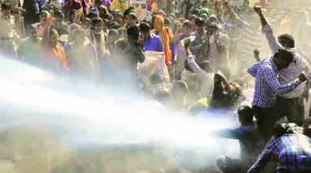 Panchkula police fires water cannon at protesting computer teachers
