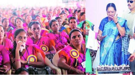 Anandiben Patel, Narendra Modi, cake for modi, malnutrition, fight malnutrition, mega drive, malnutrition mega drive, ahmedabad news, city news, local news, Gujarat news, Indian Express